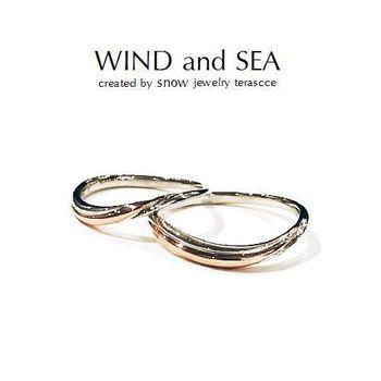 風と海の指輪結婚プラチナとピンクゴールドのコンビ.jpg